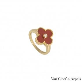 Van Cleef & ArpelsCarnelian & Diamond Vintage Alhambra Ring